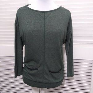 Pleione Green Long Sleeve Tee with Front Pockets